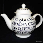 emma bridgewater. 4 cup teapot All Over Writing Black Toast