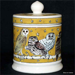 Emma Bridgewater Small Lidded Candle Owls at Night Yellow