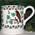 Emma Bridgewater sale. Christmas Joy Robin ½ Pint Mug