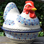 Bunzlau Castle kip. chicken shaped baking dish springtime 2343-2075