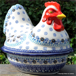 Bunzlau Castle kip. chicken shaped baking dish Blue Coral 2343-2187