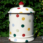 emma bridgewater sale. 2 pint  storage jar Polka Dot