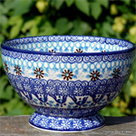 Bunzlau Castle. Bowl on Foot Blue Coral 1206-2178