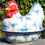 Bunzlau Castle kip. chicken shaped baking dish santorini 2343-1087 Frost 2343-2495