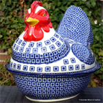 Bunzlau Castle kip. chicken shaped baking dish Blue Diamond 2343-2253