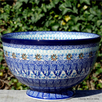 Bunzlau Castle. Bowl on Foot  Blue Coral 2014-2187