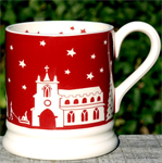 Emma Bridgewater Christmas Town Red ½ pint mug