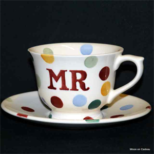 "Emma Bridgewater. Small Tea Cup & Saucer ""MR"" Polka Dot"